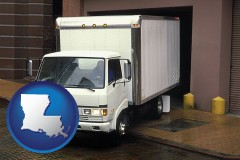 louisiana map icon and a local delivery truck